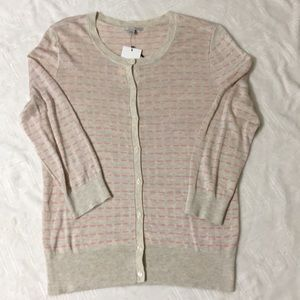BNWT HALOGEN light brown and pink button cardigan